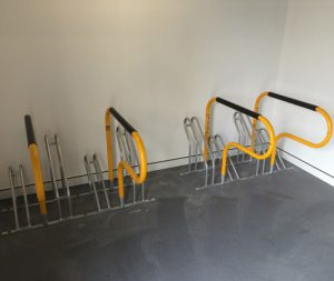 Bike rack that holds 4 bicycles. easy installation with a small footprint